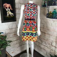 Vintage 60s Bold Colorful Floral Psychedelic XS Lanz Julius Garfinkel Mini Dress