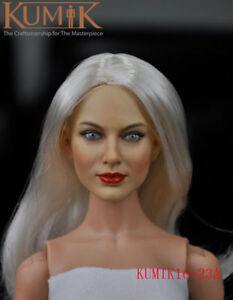 KUMIK 18-2 1//6 Female Head Carving Sculpted Model PVC  for 12/'/' Figure Body Doll