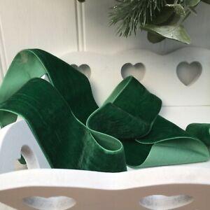Dark Green Neat Edge Velvet Ribbon Wedding Sewing Easter Craft Christmas 1 Metre