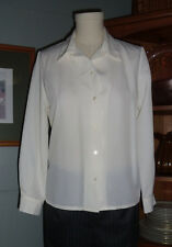 Pendleton Button Front Career Blouse Size 2 Petite Off White Long Sleeves