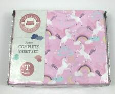 Lucy & Leo Unicorns Rainbows 3 pc Twin Sheet Set New Kids Girls Pink