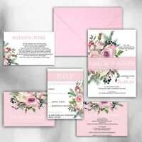 Personalised Luxury Rustic Wedding Invitations PINK/WHITE/BLUSH packs of 10
