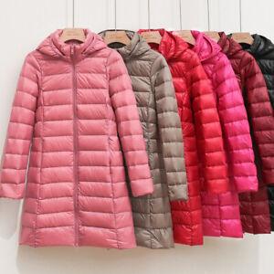 Women's Jacket 90% Duck Down Jacket Coat Ultralight Overcoat Long Hooded Puffer