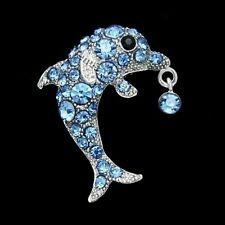 Silver-Tone Brooch Pin B970 Blue Rhinestone Crystal Dolphin