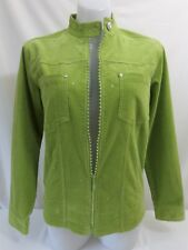 QUACKER FACTORY Lime Green Zip Front Rhinestone Corduroy Jacket Womens Size XS