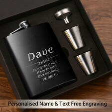 Personalised Engraved Hip Flask 6oz Best Man Wedding Keepsake Groom Usher Gift