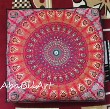 "New Large Floor Pillow Cushion Cover 35"" Red Multi Color Mandala Indian Dog Bed"