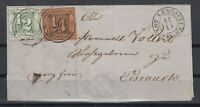 X2289/ GERMANY – THURN & TAXIS – MI # 1 + 14 ON LETTER – CV 355 $