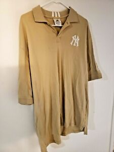 New York Yankees Adidas Tan XL S/S Polo Shirt Men's