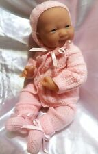 HANDMADE KNIT PREEMIE BABY REBORN DOLL OUTFIT SET SWEATER PANTS HAT BOOTIES PINK