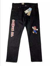 Levis Super Mario Bros 501 Slim Taper 34 x 30 Black NWT Rare Japan Premium Jeans