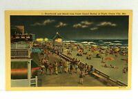 Ocean City MD Beach & Boardwalk From Coast Guard Station Night Linen Postcard