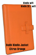 Bodhi Leather Kindle wifi & 3G + wifi Book Jacket Cover- Citrus Orange- NEW