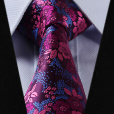 New Mens Wedding Tie Fuschia Pink Blue Purple Floral Grooms  Silk FREE Hanky 622