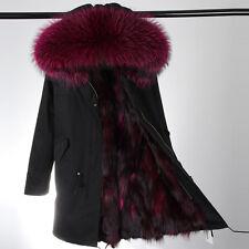 Womens Fur Coat Canvas Parka Jacket w/ GENUINE Fox Fur Lining & Raccoon Fur Hood