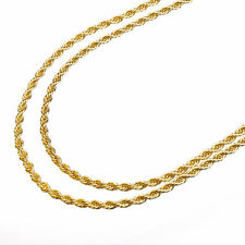 "Men's 14K Yellow Gold Plated 3 mm Double Rope Chain Necklace 22""+26"" 2pc Set"
