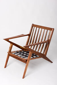 Solid Walnut Mid-Century chair inspired by the Danish modern Selig Z-chair
