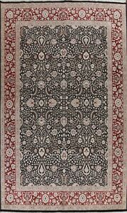 Wool/ Silk Floral Traditional Oriental Area Rug Hand-knotted Black Carpet 10x14