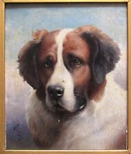 Carl Reichert Saint Bernard Oil on Panel Dog Portrait Painting