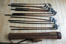 14 Antique hickory wood shaft Golf Clubs & 1917 Vintage RH Buhrke Stovepipe Bag