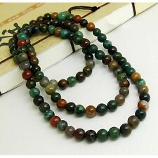 Tibetan 108 6mm Indian Jade Buddhist Meditation Prayer Beads Mala Necklace -26""