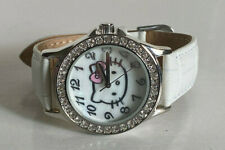 NEW SANRIO HELLO KITTY MOTHER OF PEARL RHINESTONE DIAL WHITE LEATHER STRAP WATCH