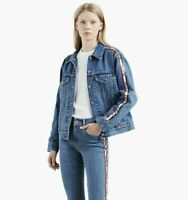 Levis Strauss S Ex-Boyfriend Trucker Sequin Donna Blue Jean Jacket Patriotic NEW