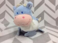 Kids Preferred Blue Cow Rattle Teether Stuffed Plush Baby Boy Toy With Mirror