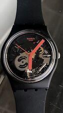 Swatch Originals Red Frame Black Dial Silicone Strap Unisex Watch GB290
