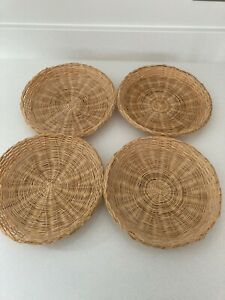 4 x Round Wicker Natural Gift Basket Storage Hamper Display Tray Bowels