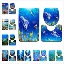 3PC Tropical Fish Coral Carpet Bathroom Non-Slip Floor Rug Toilet Cover Bath Mat