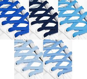FLAT BLUE SHOE LACES LONG SHOELACES - 8mm wide - 11 LENGTHS - 5 SHADES