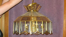 "12""-22"" BRASS. CLEAR AND GLASS CHANDELIER CEILING LIGHT FIXTURE WITH 5 LIGHTS"