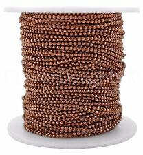 Ball Chain Spool - 100 Feet - Antique Copper Color - 1.5mm Ball - 30 Meters Bulk