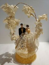 1950s, 60s Vintage Cake Topper Plastic Lace Tulle Flowers Canopy & Bell Wedding