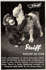 1957 STEIFF singe avec mouton bouton dans l'oreille 7x10 cm Original publicités presse