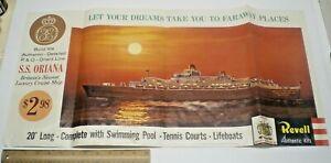 "1961 REVELL MODEL KIT "" P&O SS ORIANA SHIP ""  STORE SIGN DISPLAY POSTER L@@K!"