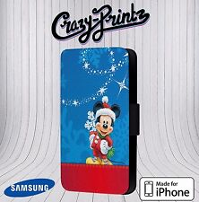 Xmas Christmas Mickey Mouse Festive Phone Cover Leather Flip Case V17