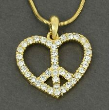 """Heart Peace Made With Swarovski Crystal GP Necklace Love Pendant Gift 18"""" Chain"""