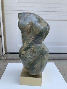 Abstract Marble Sculpture Vintage Original Nude Female Torso