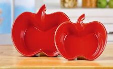 Red Apple Shaped Bowls Ceramic Porcelain Kitchen Serving Fruit Stacking Set of 2