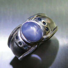 2.8ct Natural blue grey ray star sapphire 925 Sterling silver unisex ring