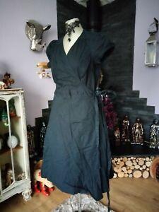 LOVELY BRAVISSIMO BLACK COTTON RUFFLE WRAP DRESS SIZE 16