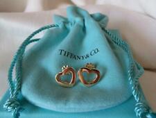 Tiffany & Co Italy 18K Gold Open Heart Earrings w/Box & Pouch~$700.+Rare Retired