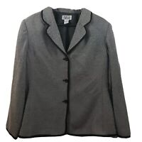 Style & Co Collection Women Blazer Size 16 Gray Black Three Button Flat Front