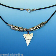 """A """"Great"""" White Tip Shark Tooth Necklace Hawaiian Surfers Large Sharks Teeth"""