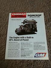 Yanmar Marine Diesel Engine 3GM30F 27 HP Dealer Sales Brochure Specifications