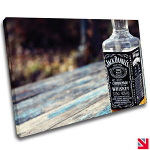 Whiskey Alcohol Bottle Drink Bar Pub CANVAS Wall Art Picture Print A4