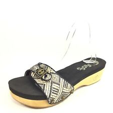 3451116d1cb9c Flogg Womens Size 8.5 M Beige Black Slide Wedge Sandals