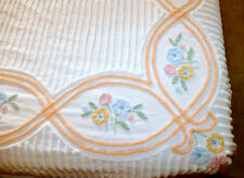 Linens Bedspread Vintage Chenille Full Double Floral Peach Blue Yellow EXCELLENT